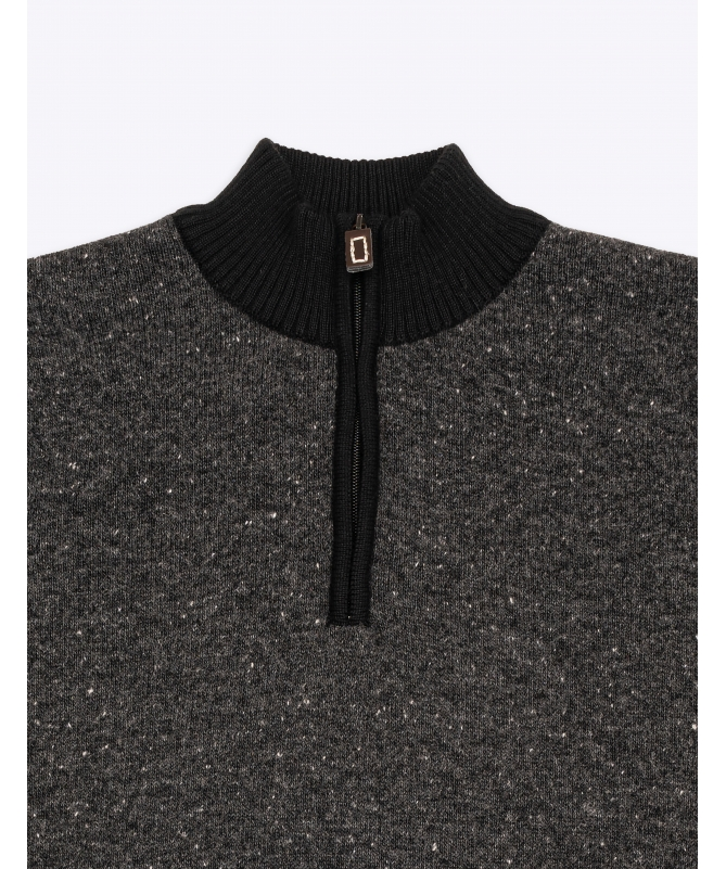 pull col cheminé gris