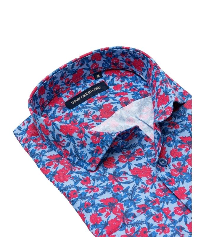 chemise à fleur rouge et bleu