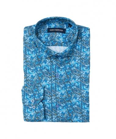 chemise bleu à fleur