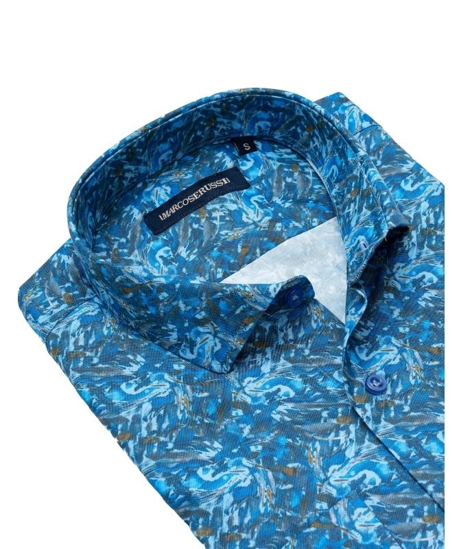 chemise à fleur bleu