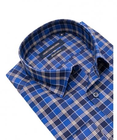 chemise a carreaux bleu marco serussi