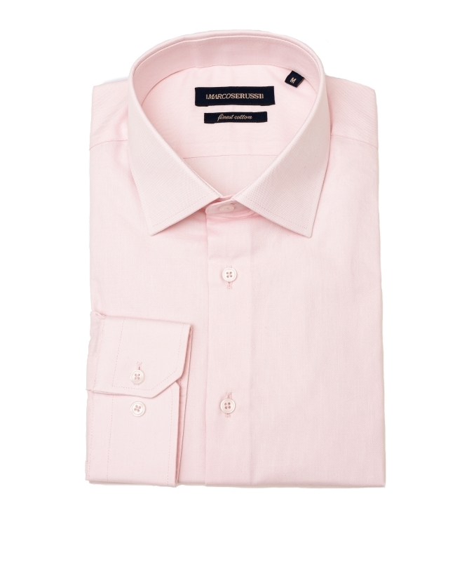 chemise unie rose cintrée marco serussi