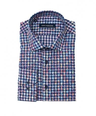 chemise à carreaux et pois slim