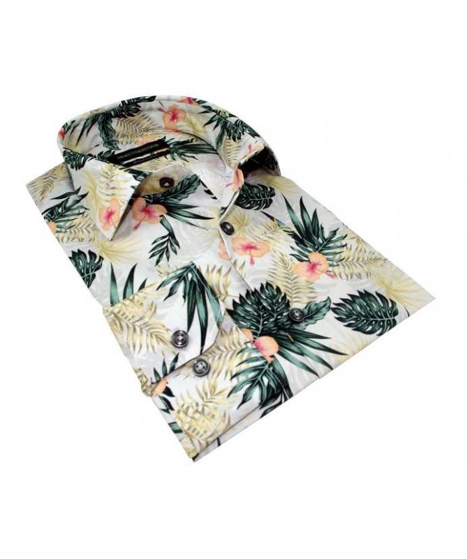 chemise motif à fleur trpical