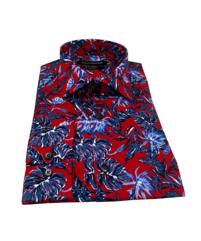 chemise rouge à fleurs bleu