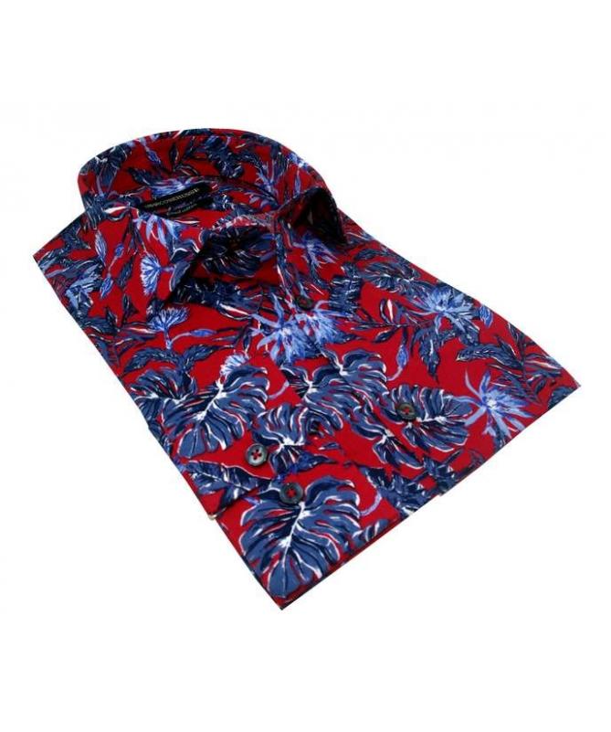 chemise homme cintrée rouge