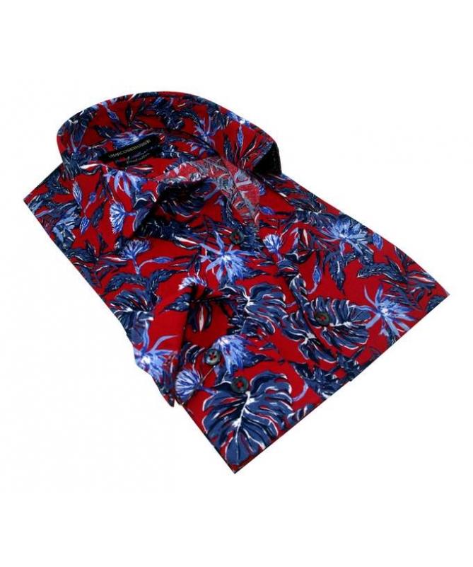 chemise rouge à fleur