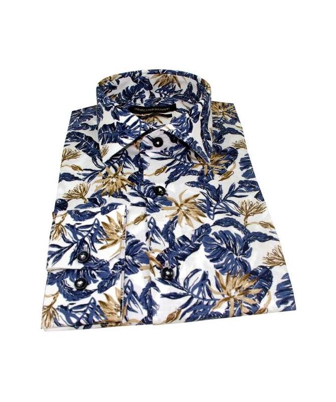 chemise cintrée motif à fleurs bleu et beige