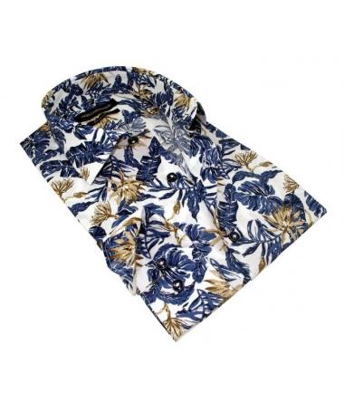 chemise a fleur bleu et beige