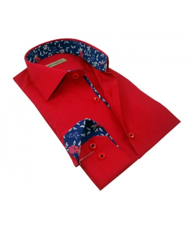 chemise rouge coupe droite