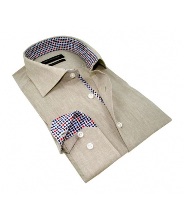 chemise beige coupe droite