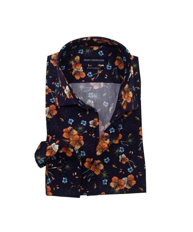chemise homme cintrée bleu marine