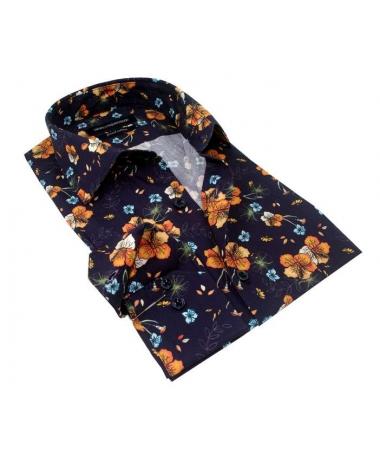 chemise bleu marine à fleur