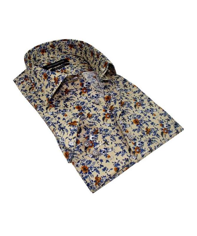chemise beige imprimée floral