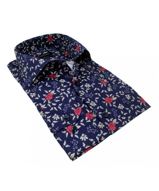 chemise bleu marine à fleurs rouge et blanche