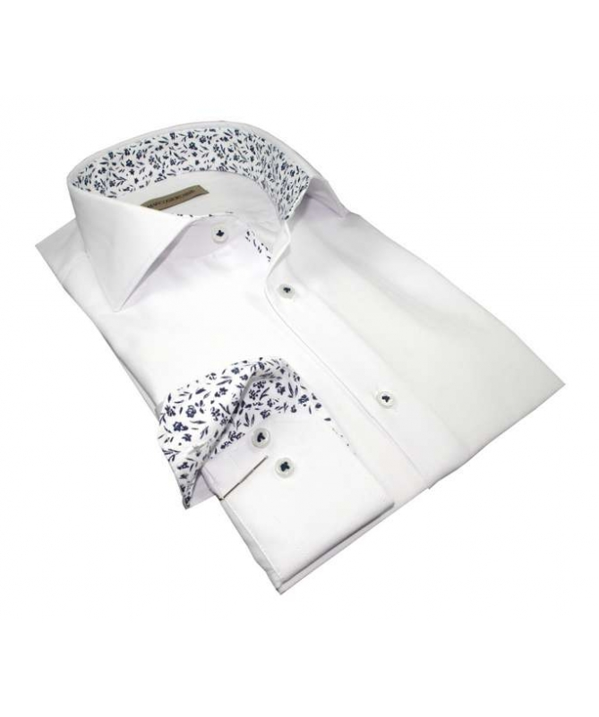 chemise homme blanche poly/coton