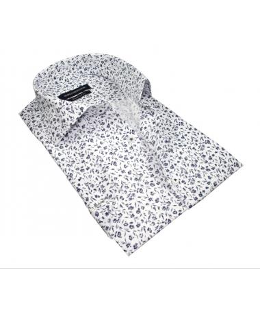 chemise manche courte motif à fleurs