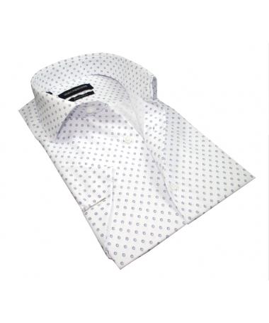 chemisette blanche à motif bleu