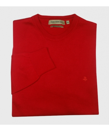 pull rouge col rond