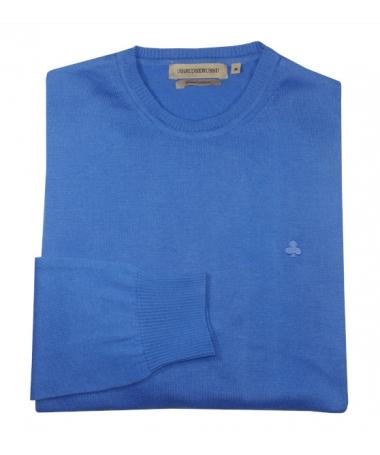pull bleu col rond