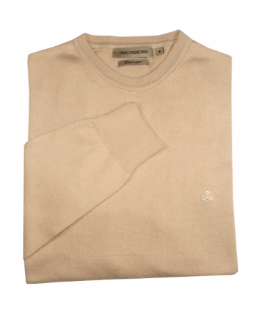 pull beige col rond