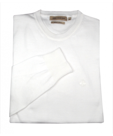 pull blanc col rond