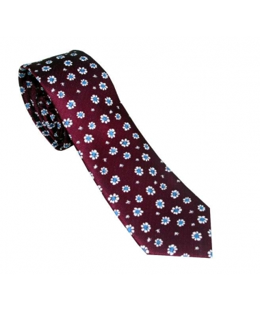 cravate bordeaux à fleur
