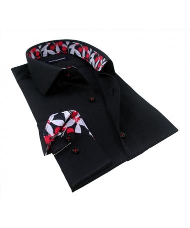 chemise noire cintrée homme