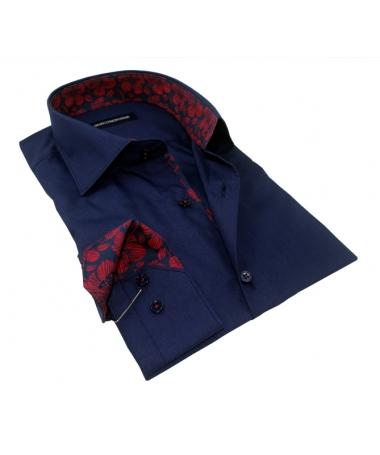 chemise bleu marine col italien