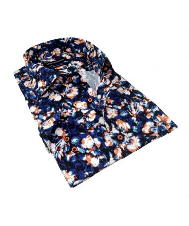 chemise à fleurs bleu marine